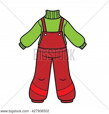 Warm Sweater And Winter Or Autumn Warm Jumpsuit Color Variation For Coloring Page Isolated On White
