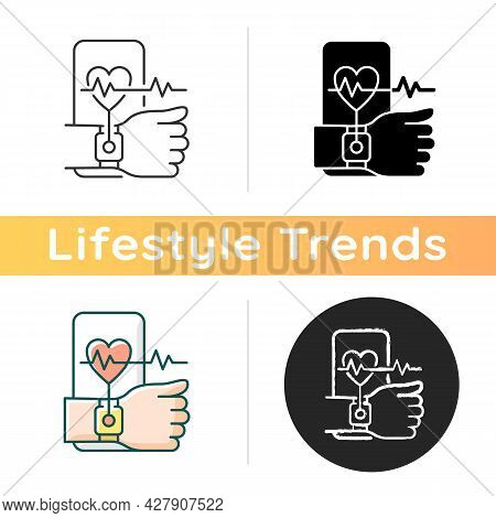 Health Tracking Icon. Measuring Heart Rate. Wearable Fitness Tracker. Monitoring User Physical Activ