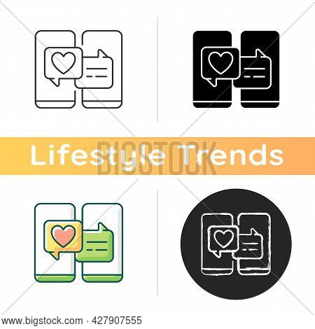 Online Dating Icon. Popular Trend During Pandemic. Matchmaking Service. Internet Interaction On Roma
