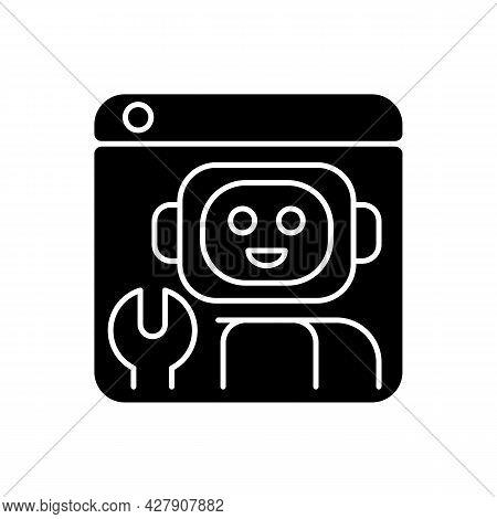 Robotics Platforms Black Glyph Icon. Provide Solution For Building Robotic Applications. Realistic S