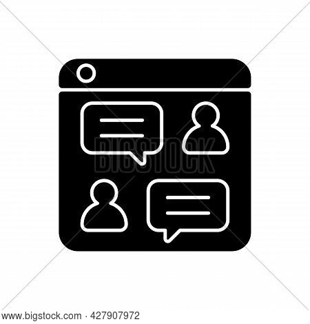 Social Discussion Platforms Black Glyph Icon. Posting Messages And Questions On Website. Chat Rooms.