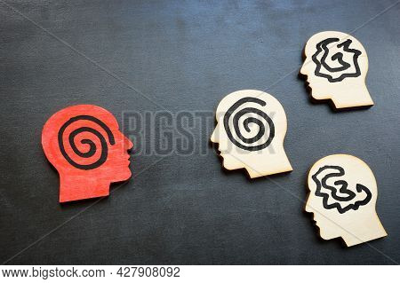 Active Listening Concept. Head Figures On The Board.