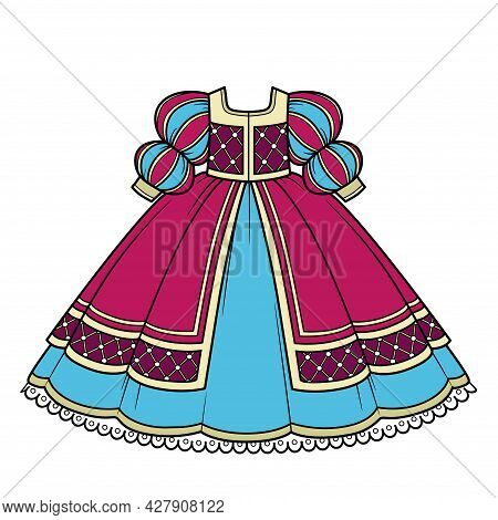 Ball Gown With Lush Skirt And Sleeves For Princess Outfit Color Variation For Coloring Page Isolated