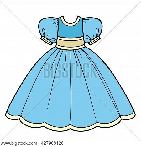 Blue Ball Gown With Lush Skirt Outfit Color Variation For Coloring Page Isolated On White Background