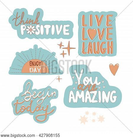 Set Motivation Stickers Quote Poster Inspiration Motivation Lettering Quote Illustration With Doodle