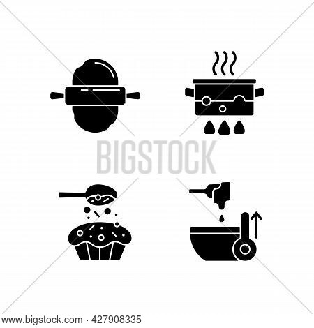 Cookery Instructions Black Glyph Icons Set On White Space. Roll Out Dough. Boiling Water In Pot. Spr