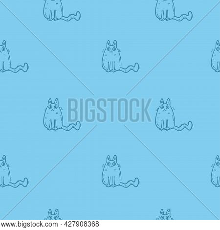 Seamless Pattern With Cute Cartoon Cats On Blue Background. Funny Animals Wallpaper. Vector Doodle K