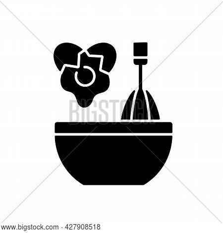 Scramble Cooking Ingredient Black Glyph Icon. Beating Eggs In Pot. Stir In Bowl As Recipe Step. Cook