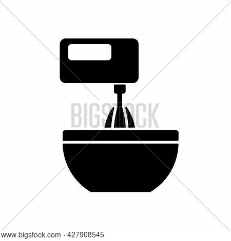 Mixer Black Glyph Icon. Beating Mixture Step In Cooking Instruction. Stir Ingredients With Electric