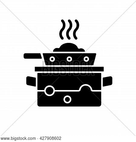 Steam For Cooking Black Glyph Icon. Boil Water In Pot To Cook Meal On Pan. Dinner Recipe. Cooking In