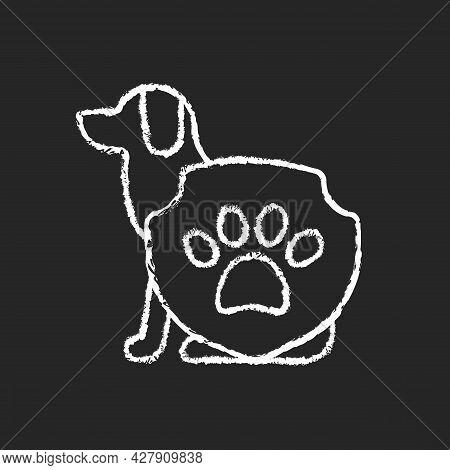 Animal Protection Chalk White Icon On Dark Background. Pet Welfare Label. Cruelty Free Mark For Vega