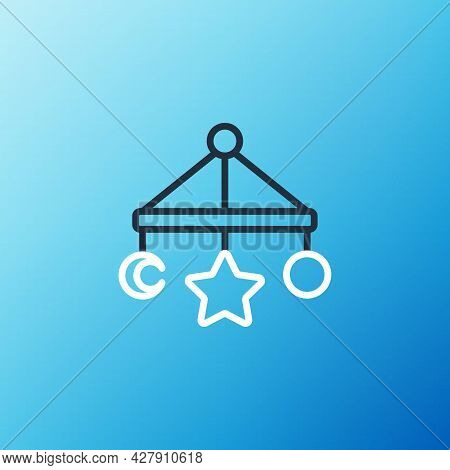 Line Baby Crib Hanging Toys Icon Isolated On Blue Background. Baby Bed Carousel. Colorful Outline Co