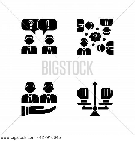 Collective Work Black Glyph Icons Set On White Space. Office Communication And Support. Conflict Man