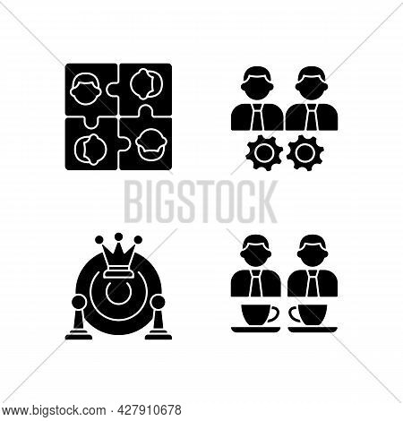 Office Members Interaction Black Glyph Icons Set On White Space. Approach Goal Together. Employees M