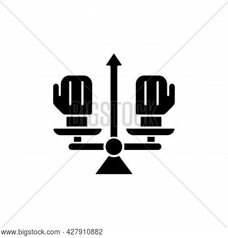 Conflict Management Black Glyph Icon. Professional Conflict Resolution. Avoid Confrontation On Workp