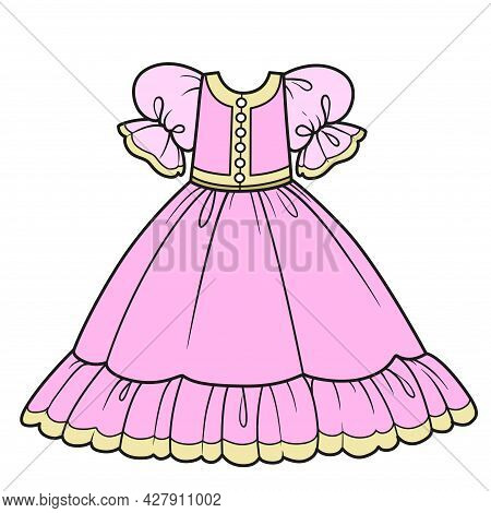 Pink Ball Gown With Fluffy Skirt For Princess Outfit Color Variation For Coloring Page Isolated On W