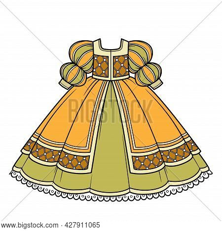 Yellow And Green Ball Gown With Lush Skirt And Sleeves For Princess Outfit Color Variation For Color