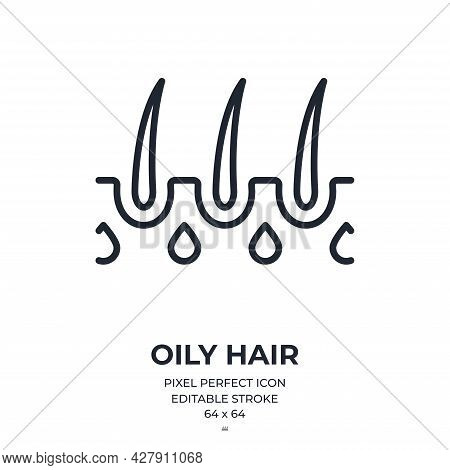 Oily Hair And Seborrhea Concept Editable Stroke Outline Icon Isolated On White Background Flat Vecto