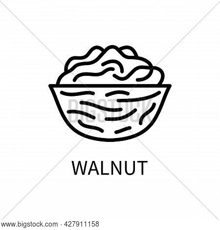 Icon Walnut Line Simple Style. Kernel Is A Nut Shell. Source Of Vegetable Milk. Vector Sign In A Sim