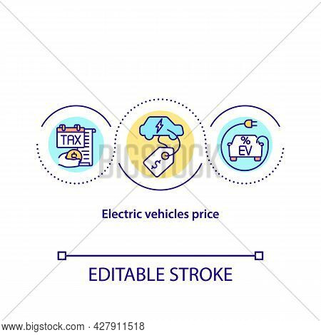 Electric Vehicles Price Concept Icon. Car Purchase Abstract Idea Thin Line Illustration. Ev Tax Retu