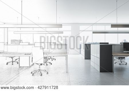 White Hand Drawn Coworking Meeting Room Interior With Daylight, Furniture And Equipment. Design, Ref