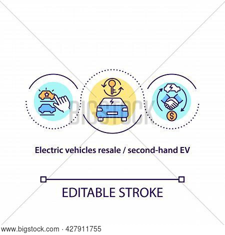 Electric Vehicles Resale Concept Icon. Second-hand Ev Abstract Idea Thin Line Illustration. Used Car