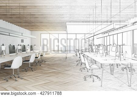 Modern Hand Drawn Coworking Meeting Room Interior With Daylight, Furniture And Equipment. Design, Re