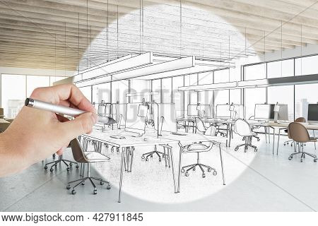 Creative Hand Drawn Coworking Meeting Room Interior With Daylight, Furniture And Equipment. Design,
