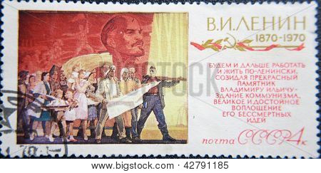 RUSSIA - CIRCA 1970: stamp printed by USSR shows people celebration of 100 years Birth lider Lenin