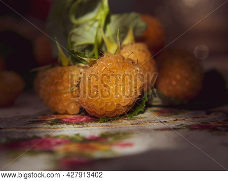 Raspberry Background. Ripe Raspberries On A Vintage Rustic Tablecloth, In A Rustic Style.