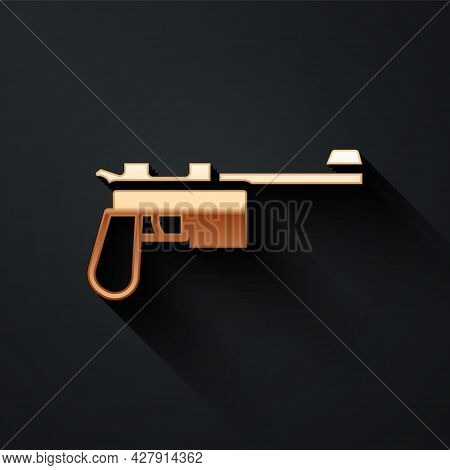 Gold Mauser Gun Icon Isolated On Black Background. Mauser C96 Is A Semi-automatic Pistol. Long Shado