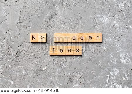 No Hidden Fees Word Written On Wood Block. No Hidden Fees Text On Cement Table For Your Desing, Top