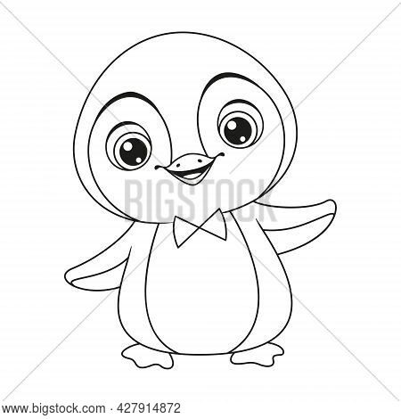 Baby Penguin Coloring Page. Outline Cartoon Vector Illustration