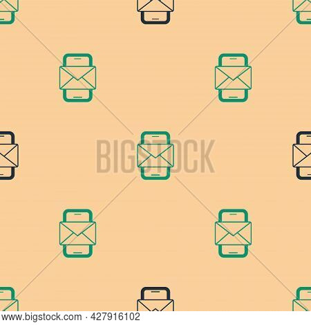 Green And Black Mobile And Envelope, New Message, Mail Icon Isolated Seamless Pattern On Beige Backg