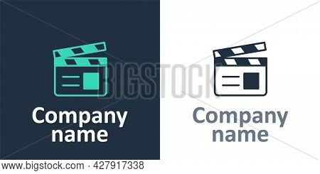 Logotype Movie Clapper Icon Isolated On White Background. Film Clapper Board. Clapperboard Sign. Cin