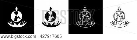 Set World Expansion Icon Isolated On Black And White Background. Vector