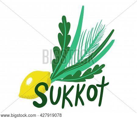 Sukkot Jewish Holiday. Sukkot Species With Etrog, Lulav, Arava, Hadas. Isolated On White Background.