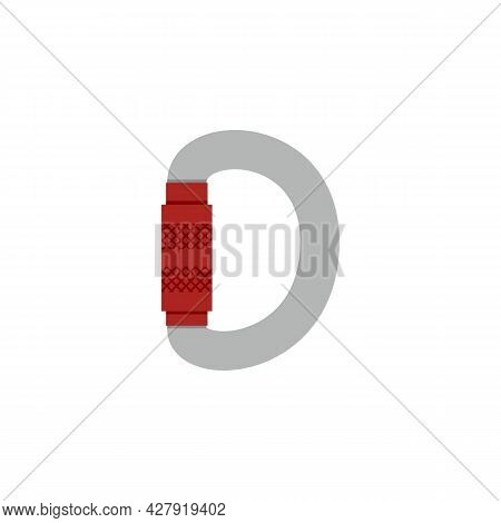 Rock Climbing Carabiner With Safety Closure Flat Vector Illustration Isolated.