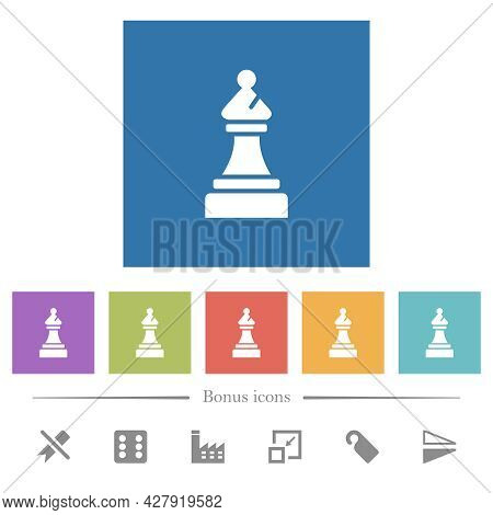Black Chess Bishop Flat White Icons In Square Backgrounds. 6 Bonus Icons Included.