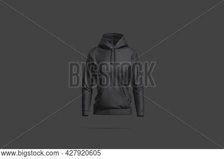 Blank Black Women Sport Hoodie Mockup, Dark Background, 3d Rendering. Empty Hooded Female Crewneck S
