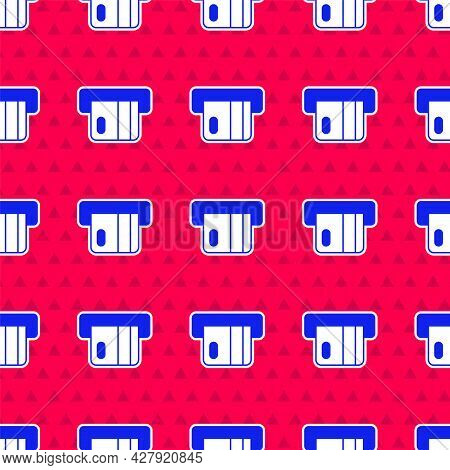 Blue Credit Card Inserted In Card Reader Icon Isolated Seamless Pattern On Red Background. Atm Cash