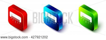 Isometric Air Conditioner Icon Isolated On White Background. Split System Air Conditioning. Cool And