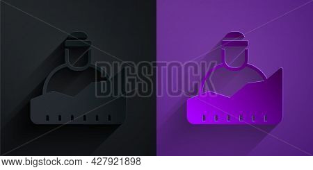 Paper Cut Growth Of Homeless Icon Isolated On Black On Purple Background. Homelessness Problem. Pape