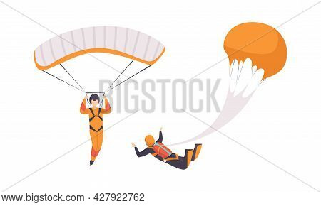 Paratroopers Jumping And Flying With Parachutes, Extreme Sport, Skydiving Cartoon Vector Illustratio