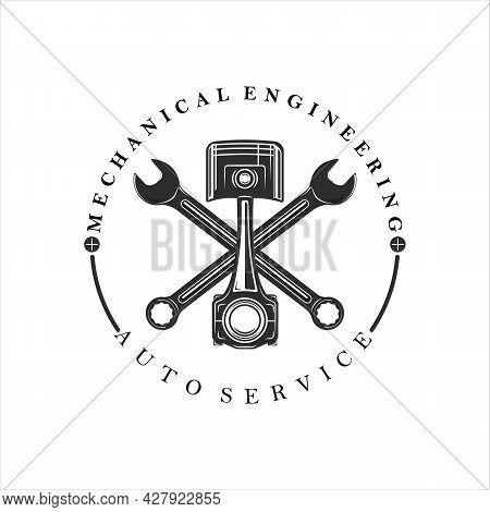 Mechanic Or Piston Logo Vintage Vector Illustration Template Icon Design. Engineering Service Logo F