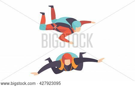 Skydivers Floating In The Air, Free Jumping, Extreme Sport Cartoon Vector Illustration