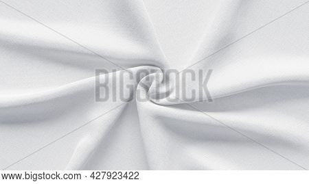 Blank White Twisted Fabric Material Mockup, 3d Rendering. Empty Crumpled Soft Cloth Or Canvas Backgr
