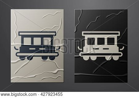 White Passenger Train Cars Toy Icon Isolated On Crumpled Paper Background. Railway Carriage. Paper A