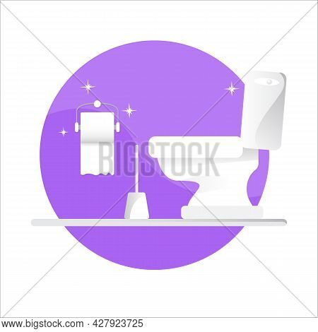 Toilet Bawl Icon With Toilet Paper Roll Isolated On Violet Background. Flat Toilet Room Icon. Vector