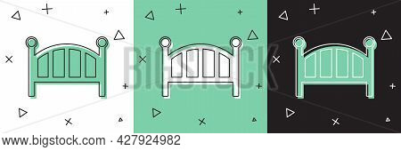 Set Baby Crib Cradle Bed Icon Isolated On White And Green, Black Background. Vector